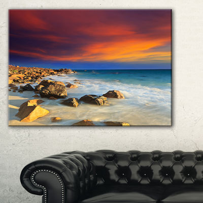 Designart Beach With Stones On Foreground SeascapeArt Canvas
