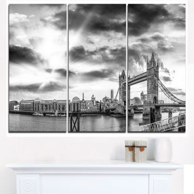 Design Art Black And White View Of London Panorama Cityscape Canvas Print - 3 Panels