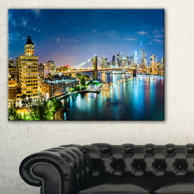 Design Art Colorful New York City Panoramic View Cityscape Canvas Print