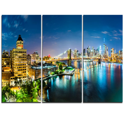 Design Art Colorful New York City Panoramic View Cityscape Canvas Print - 3 Panels