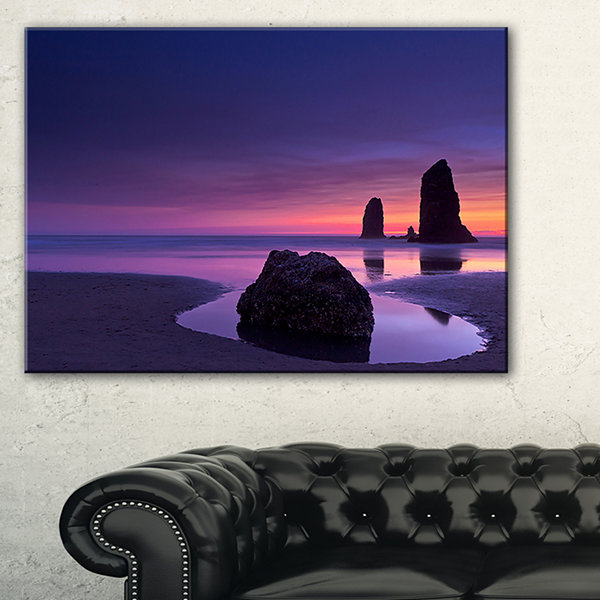 Designart Purple Haystack Rock Seascape Art Canvas