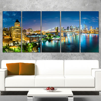 Designart Colorful New York City Panoramic View Cityscape Canvas Print - 5 Panels