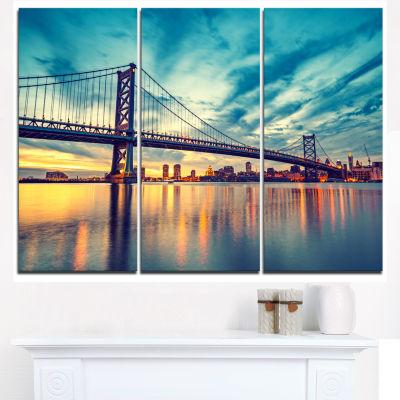 Design Art Ben Franklin Bridge In Philadelphia Cityscape Canvas Print - 3 Panels