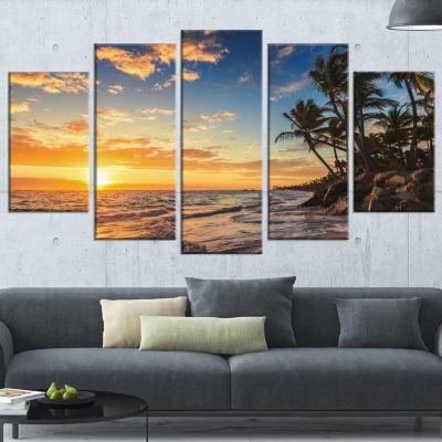 Designart Paradise Tropical Island Beach With Palms Seascape Art Canvas - 5 Panels