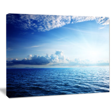 Design Art Blue Caribbean Sea And Perfect Blue Sky Art Canvas