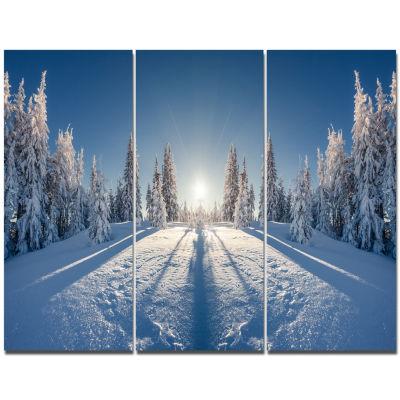Designart Majestic White Winter Landscape Print Wall Artwork - 3 Panels