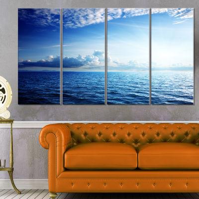 Designart Blue Caribbean Sea And Perfect Blue SkyArt Canvas - 4 Panels