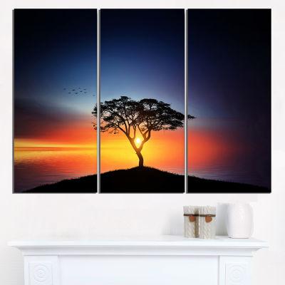 Designart Beautiful Sunset Over Lonely Tree Wall Art Landscape - 3 Panels