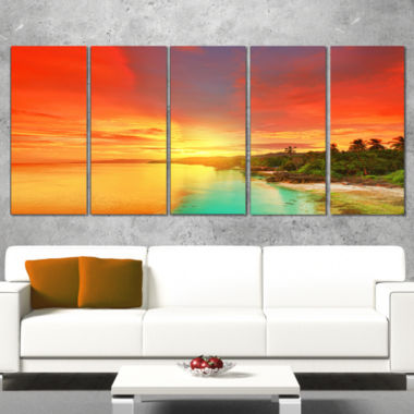 Design Art Beautiful Coastline In Philippines Seascape Art Canvas - 5 Panels