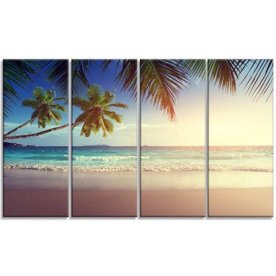 Designart Typical Sunset On Seychelles Beach Seascape Art Canvas - 4 Panels