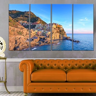 Designart Manarola Village Cinque Terre Italy Seashore Canvas Art - 4 Panels