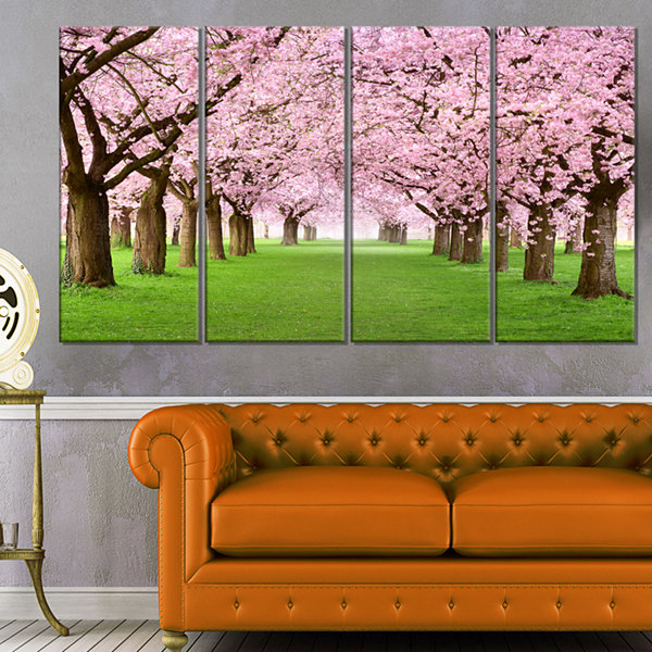 Design Art Gorgeous Cherry Trees In Full Blossom Landscape Canvas Art Print - 4 Panels