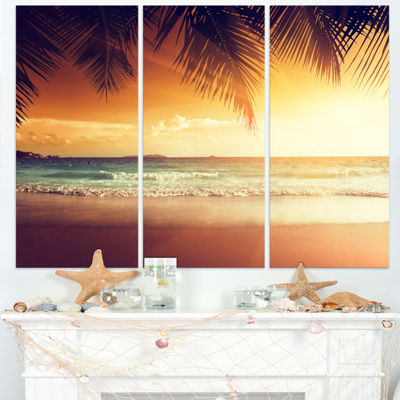Designart Palm Leaves On Caribbean Seashore ModernSeashore Canvas Art - 3 Panels