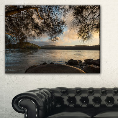 Design Art Sunrise From Hawsbury River Seashore Canvas Print