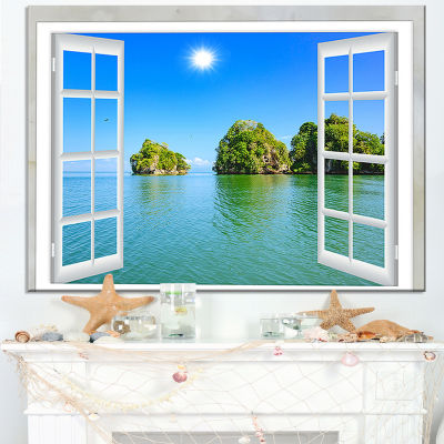 Design Art Open Window To Ocean Islets Landscape Wall Art Print
