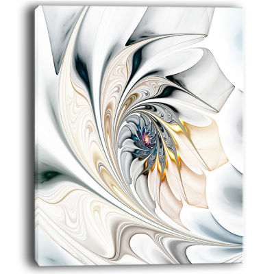 Designart White Stained Glass Floral Art Floral Wall Art Canvas