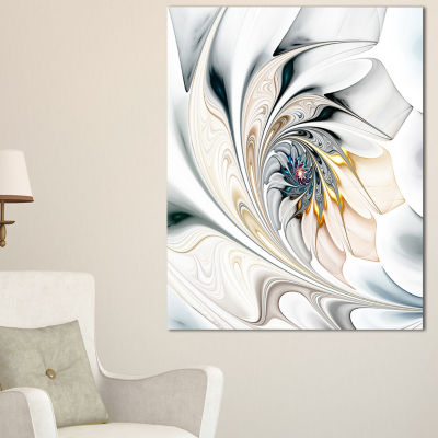 Design Art White Stained Glass Floral Art Floral Wall Art Canvas