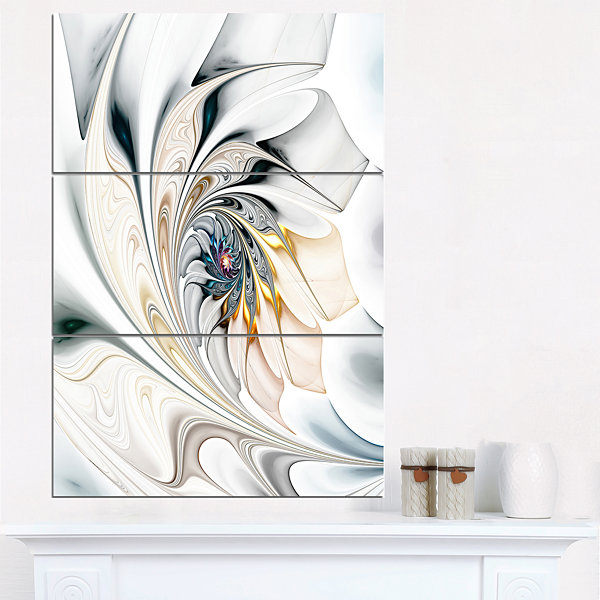 Designart White Stained Glass Floral Art Floral Wall Art Canvas - 3 Panels