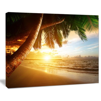 Design Art Beautiful Beach Under Palms Modern Seashore Canvas Art
