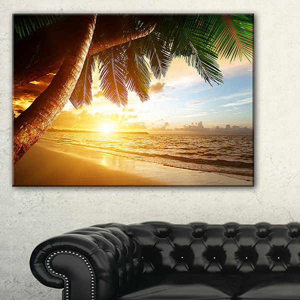 Design Art Beautiful Beach Under Palms Modern Seashore Canvas Art