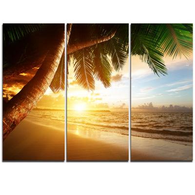 Design Art Beautiful Beach Under Palms Modern Seashore Canvas Art - 3 Panels