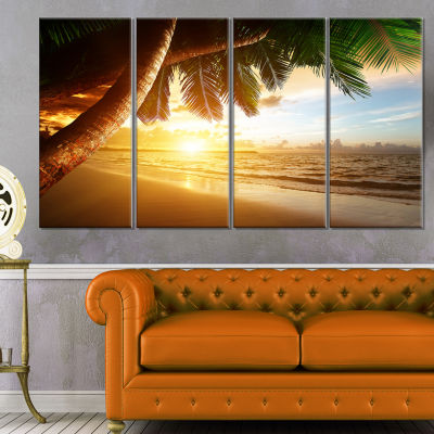 Designart Beautiful Beach Under Palms Modern Seashore Canvas Art - 4 Panels