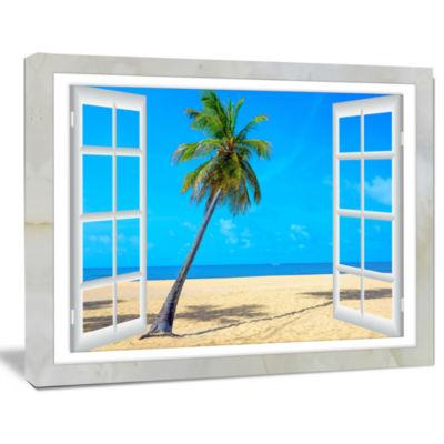 Design Art Open Window To Beach With Palm Seashore Canvas Art