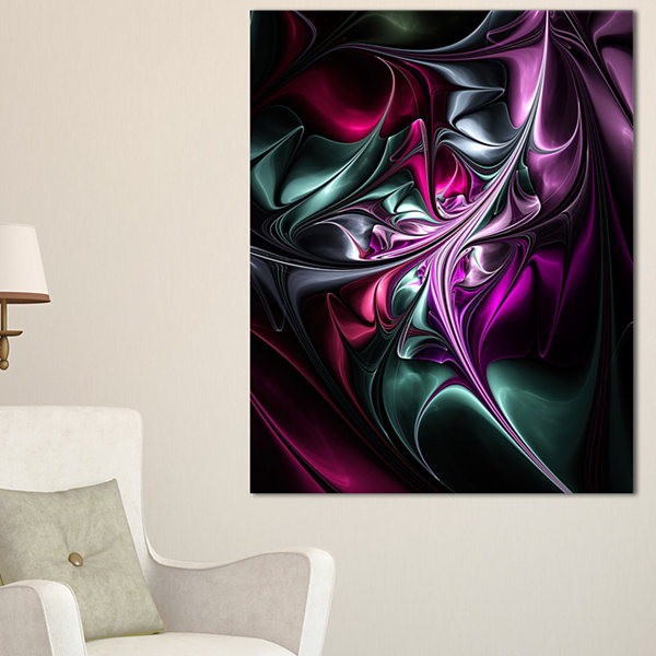 Designart Multicolored Abstract Floral Shapes WallArt Canvas