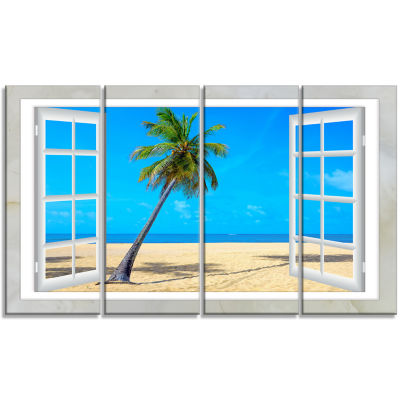 Designart Open Window To Beach With Palm SeashoreCanvas Art - 4 Panels