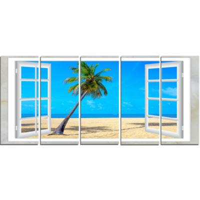 Designart Open Window To Beach With Palm SeashoreCanvas Art - 5 Panels