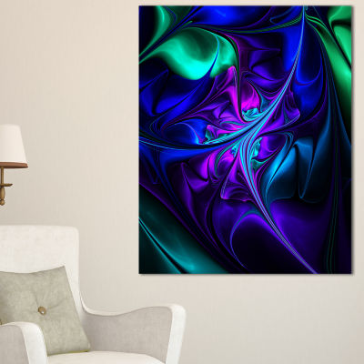 Design Art Bright Blue Abstract Floral Shapes Wall Art Canvas