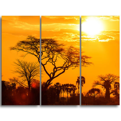 Design Art Orange Glow Of African Sunset Wall Art Landscape - 3 Panels