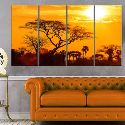 Design Art Orange Glow Of African Sunset Wall Art Landscape - 4 Panels