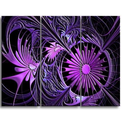 Design Art Embossed Purple Floral Shapes Wall Art Canvas - 3 Panels