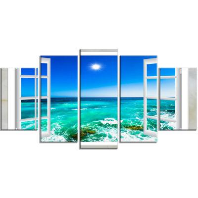 Designart Open Window To Wavy Ocean Seashore Canvas Art - 5 Panels