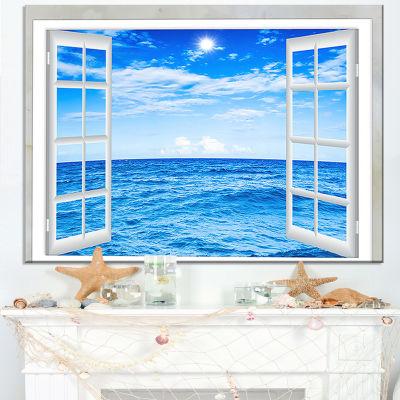 Designart Window Open To Blue Wavy Ocean SeashoreCanvas Art
