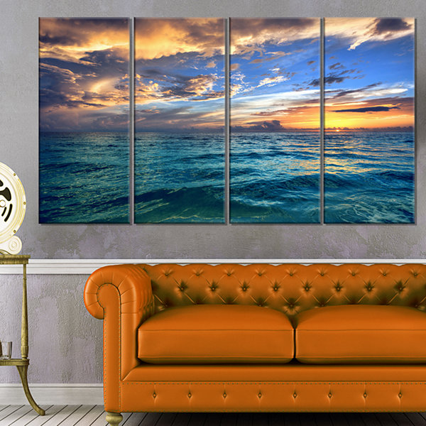 Designart Exotic Tropical Beach At Sunset Modern Seashore Canvas Art - 4 Panels