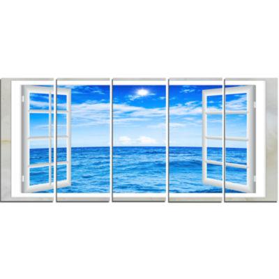 Designart Window Open To Blue Wavy Ocean SeashoreCanvas Art - 5 Panels