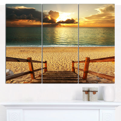 Design Art Boardwalk Stair Into Sandy Beach Bridge Canvas Art Print - 3 Panels