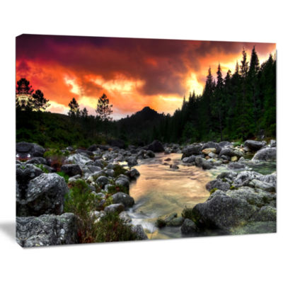 Designart Rocky Mountain River At Sunset Wall ArtLandscape