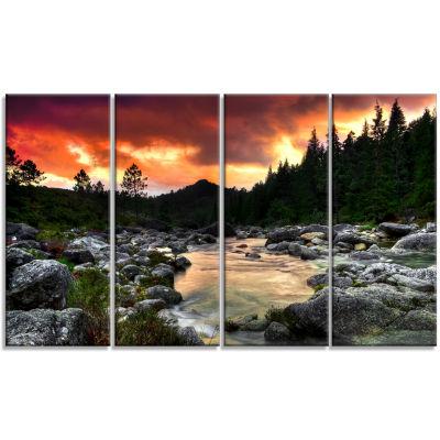 Design Art Rocky Mountain River At Sunset Wall Art Landscape - 4 Panels
