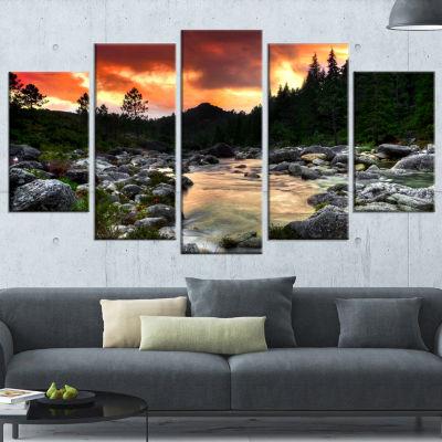 Designart Rocky Mountain River At Sunset Wall Art Landscape - 5 Panels