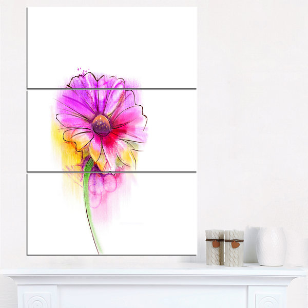 Designart Purple Yellow Gerbera Flower Canvas WallArt - 3 Panels
