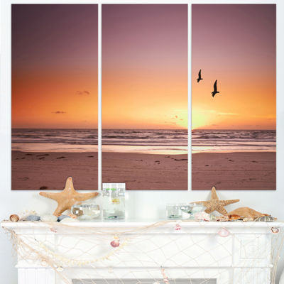 Designart Beach Sunset And Sea Gulls Modern Seashore Canvas Art - 3 Panels