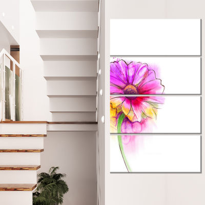 Design Art Purple Yellow Gerbera Flower Canvas Wall Art - 4 Panels