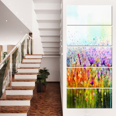 Designart Abstract Cosmos Of Colorful Flowers Canvas Wall Art - 5 Panels