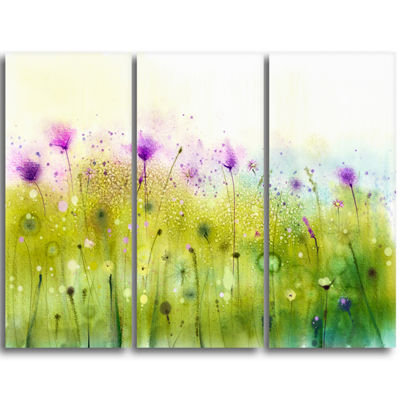 Designart Green Purple Abstract Cosmos Of FlowersCanvas Wall Art - 3 Panels