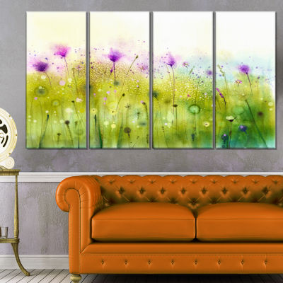 Designart Green Purple Abstract Cosmos Of Flowers Canvas Wall Art - 4 Panels