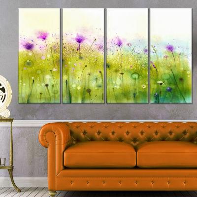 Designart Green Purple Abstract Cosmos Of FlowersCanvas Wall Art - 4 Panels