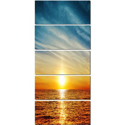 Designart Brilliant Texture Of Sea Currents BeachCanvas Artwork - 5 Panels